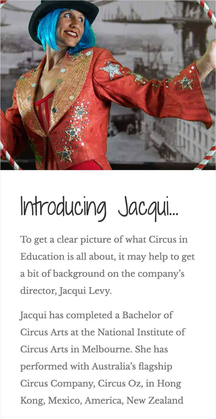Circus in Education Mobile Website Case Study