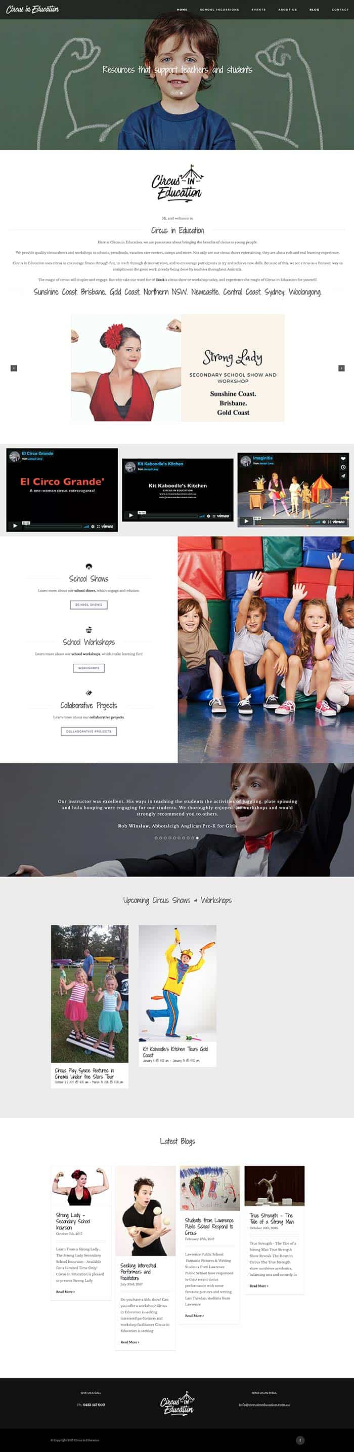 Circus in Education Website Case Study