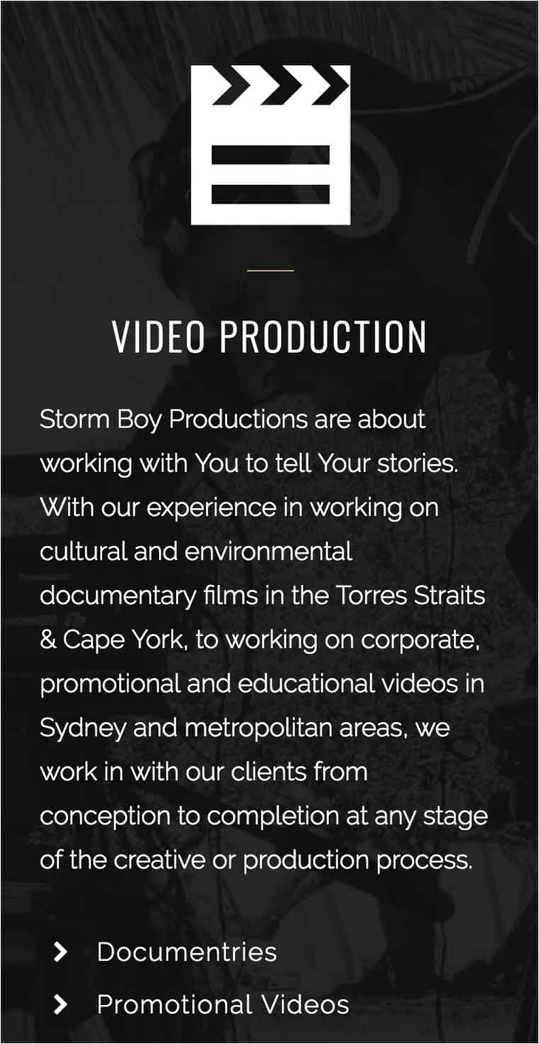 Storm Boy Productions Mobile Website Case Study